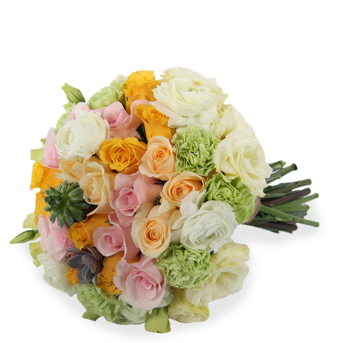 WB1611 Pink and Orange Bridal Bouquet