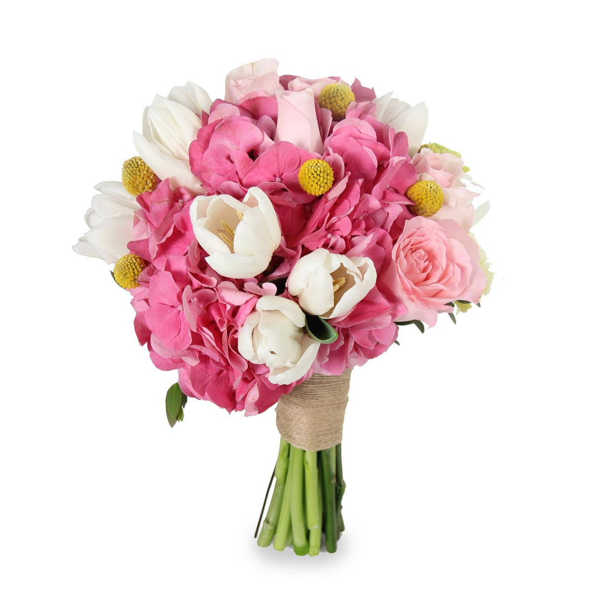 WB1613 pink hydrangea and tulips bridal bouquet