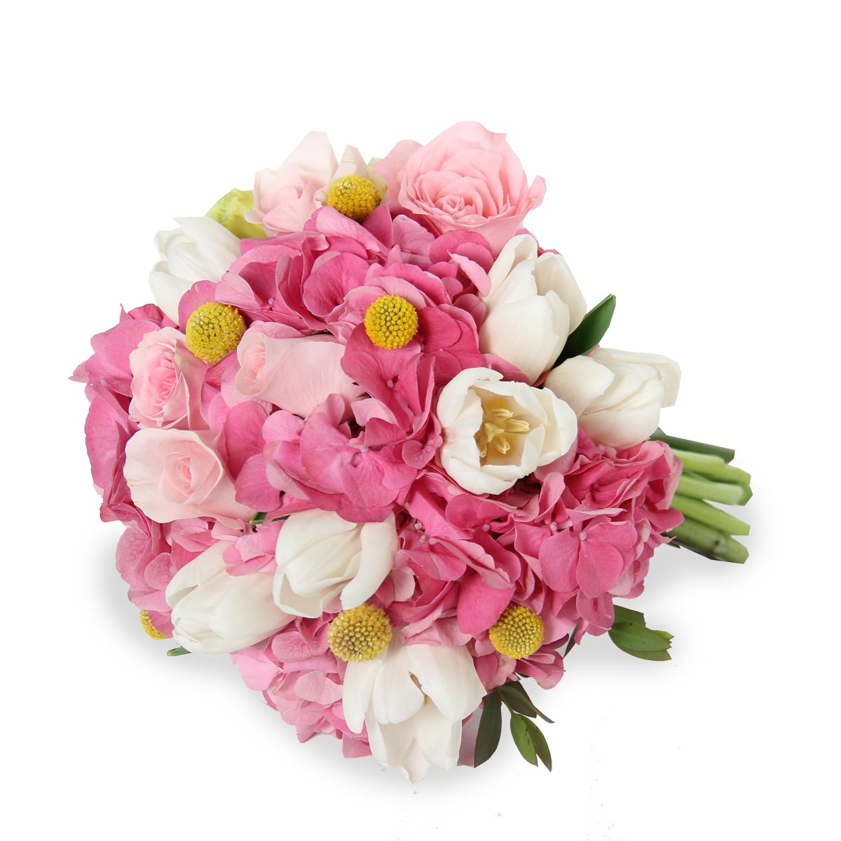 WB1613 pink hydrangea white tulips and roses bouquet