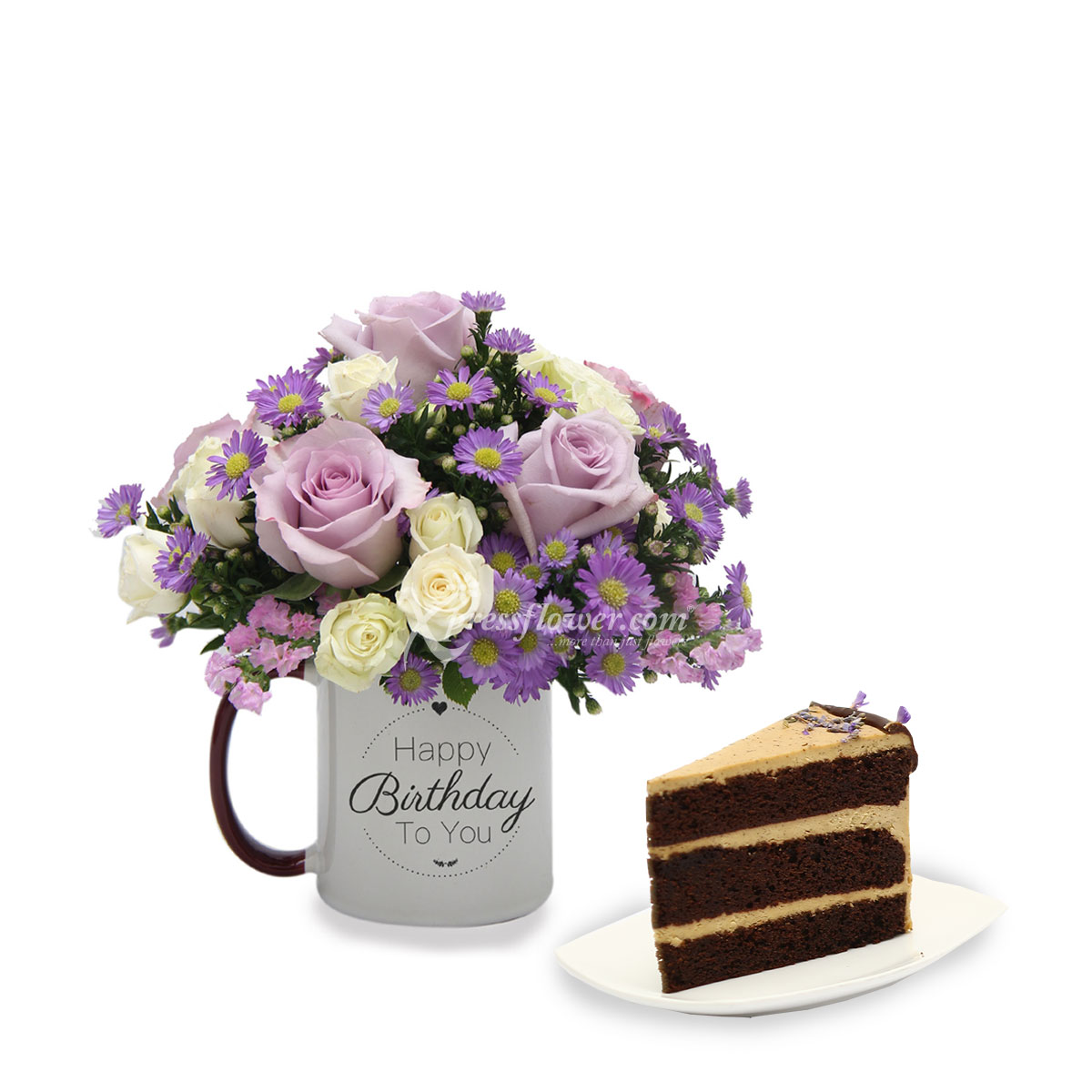 Royal Birthday (6 Lilac Roses with Twenty Grammes Slice Cake)