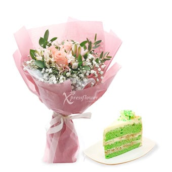 Sugar Overload (3 Pink Roses with Twenty Grammes Slice Cake)