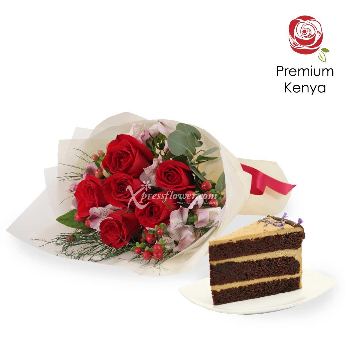 Honey Honey (6 Kenya Red Roses with Twenty Grammes Slice Cake)