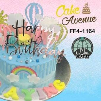 Happy Birthday - Hot Air Balloon Blue (Cake Avenue)