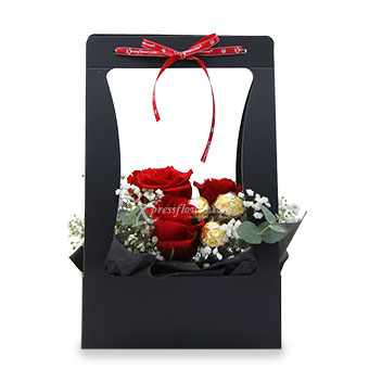 Timeless Beauty (3 Red Roses with 3 Ferrero Rocher Chocolate)