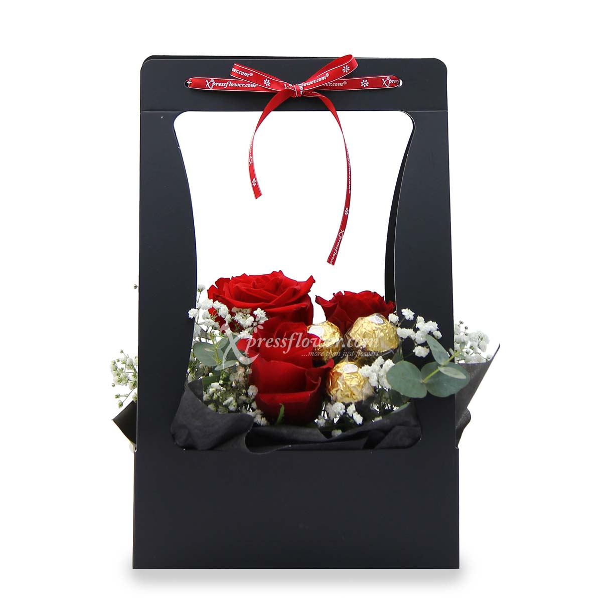 Timeless Beauty (3 red roses with 3 Ferrero Rocher chocolates)