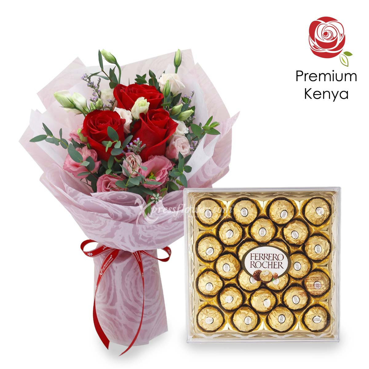 All Day Sweetness (3 Kenya Red Roses with 24 Ferrero Rocher Chocolate)
