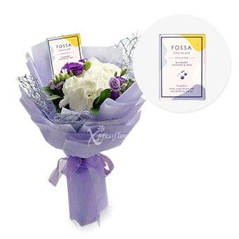 Lavender Crush (White Hydrangea with Fossa Chocolate)