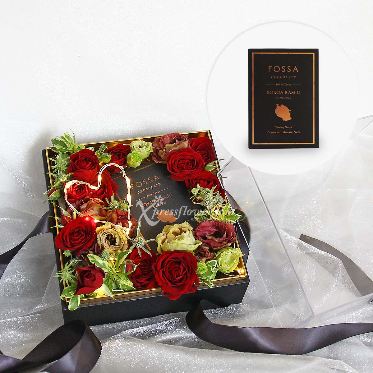 My Choco Heart (Red Rose Sprays with LED lights and Fossa chocolate)