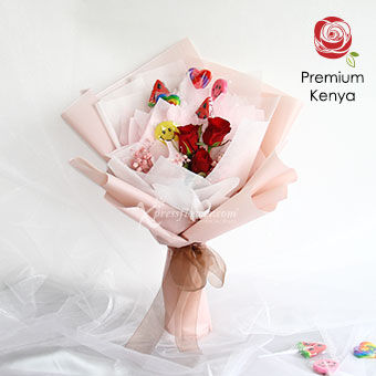 My Love's Candy (3 Red Roses with 6 lollipops)