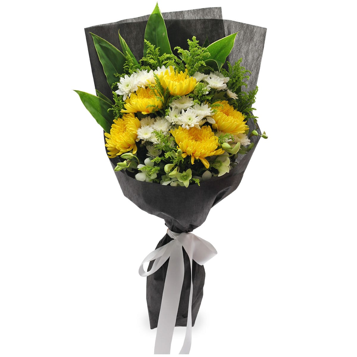 SCF1701 In Loving Memory Yellow Chrysanthemum Condolence Wreath Bouquet