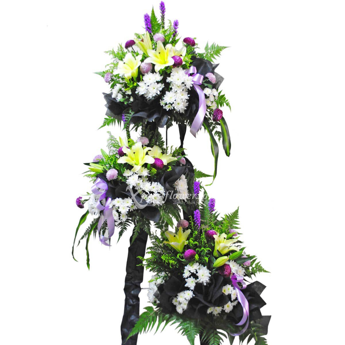 SC1408 Encouraging Empathy Liatris Yellow King Lilies Wreath Funeral & Condolence Flower Stands