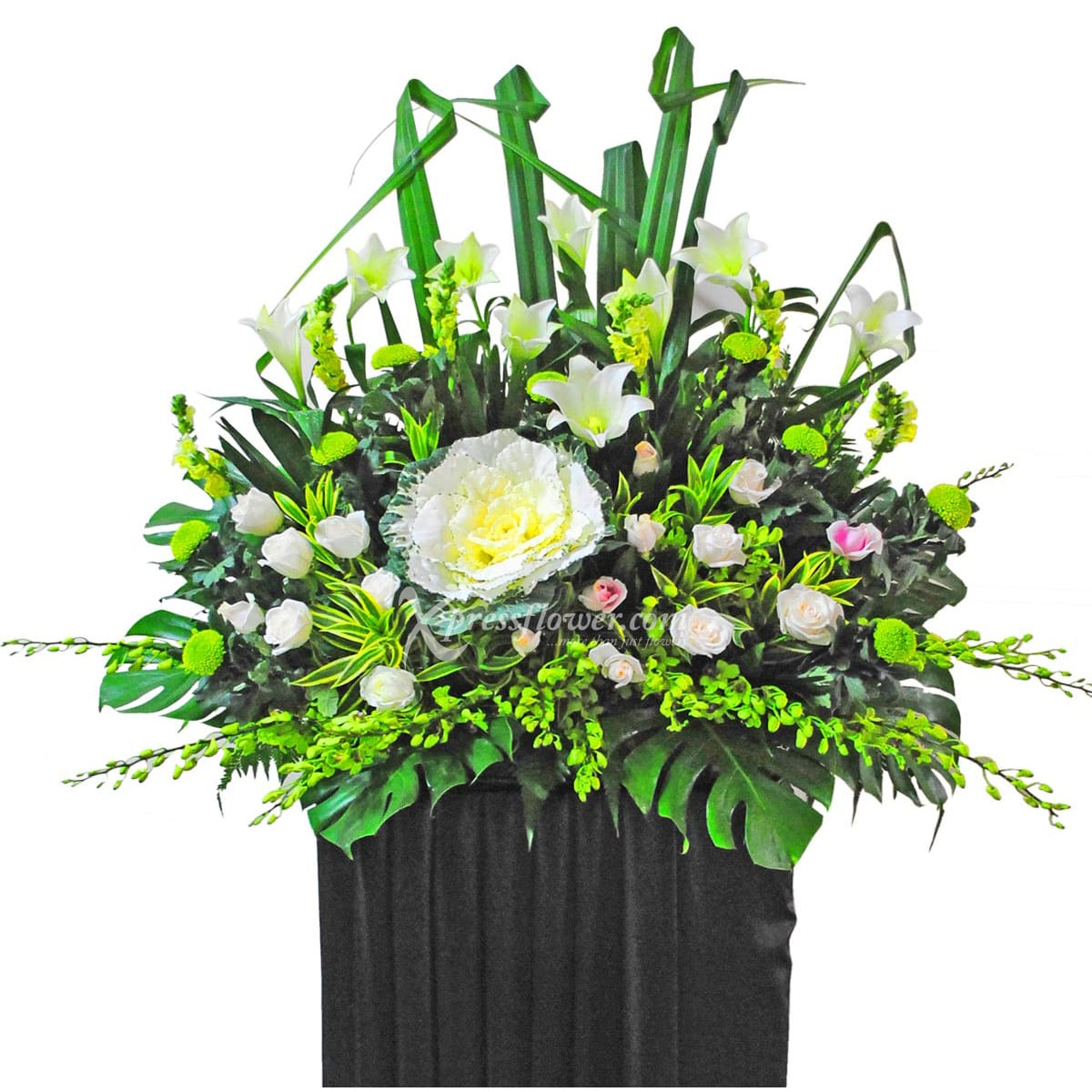 SC1416 Always Remain White Lily Wreath Funeral & Condolence Flower Stands