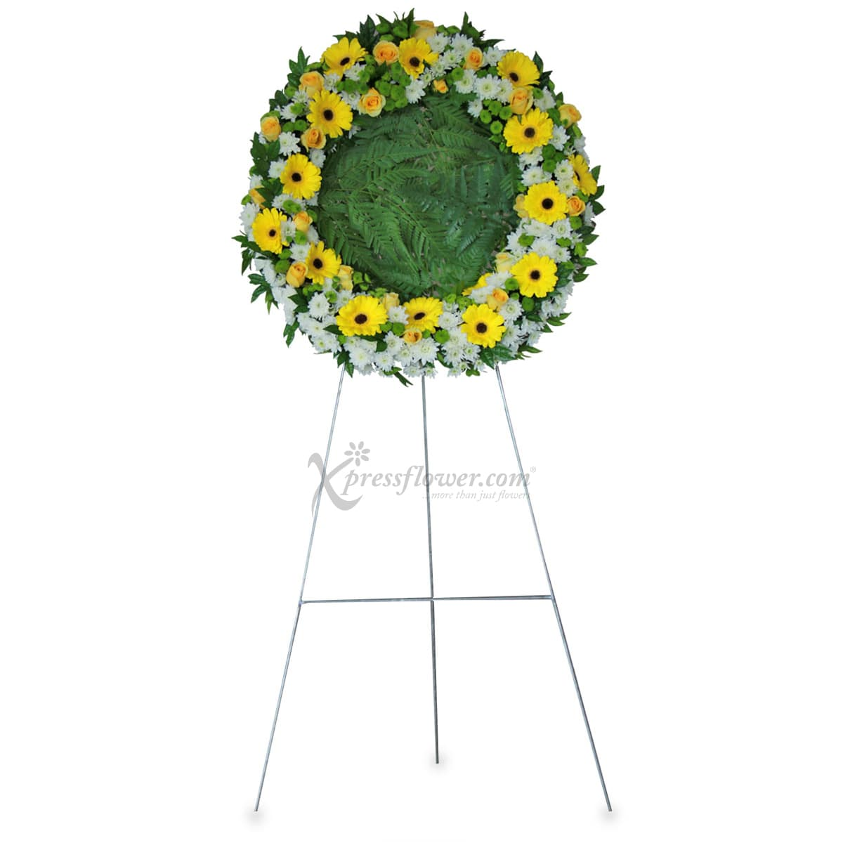 SC1715 Peaceful Departure Yellow Gerberas  Wreath Funeral & Condolence Flower Stands
