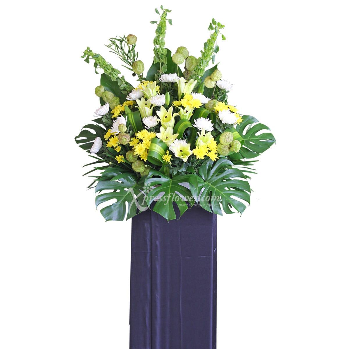 SC1717 Peaceful Departure Yellow Gerberas Wreath Funeral & Condolence Flower Stands