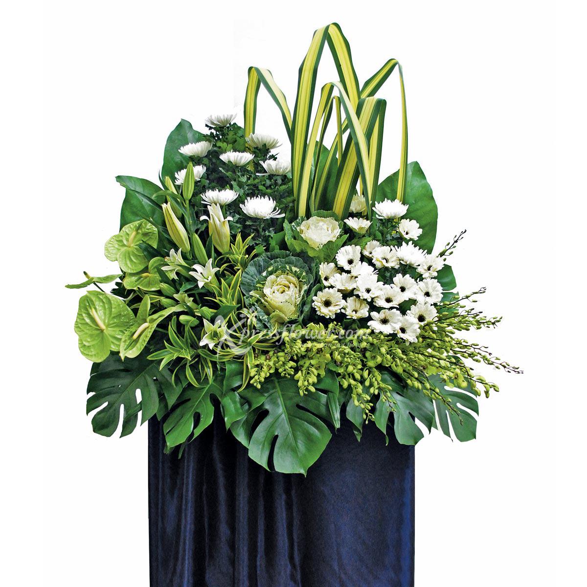 SC1101 Glorious Goodbye sunlight Chrysanthemum Gerbera Babbage lilies condolence stand
