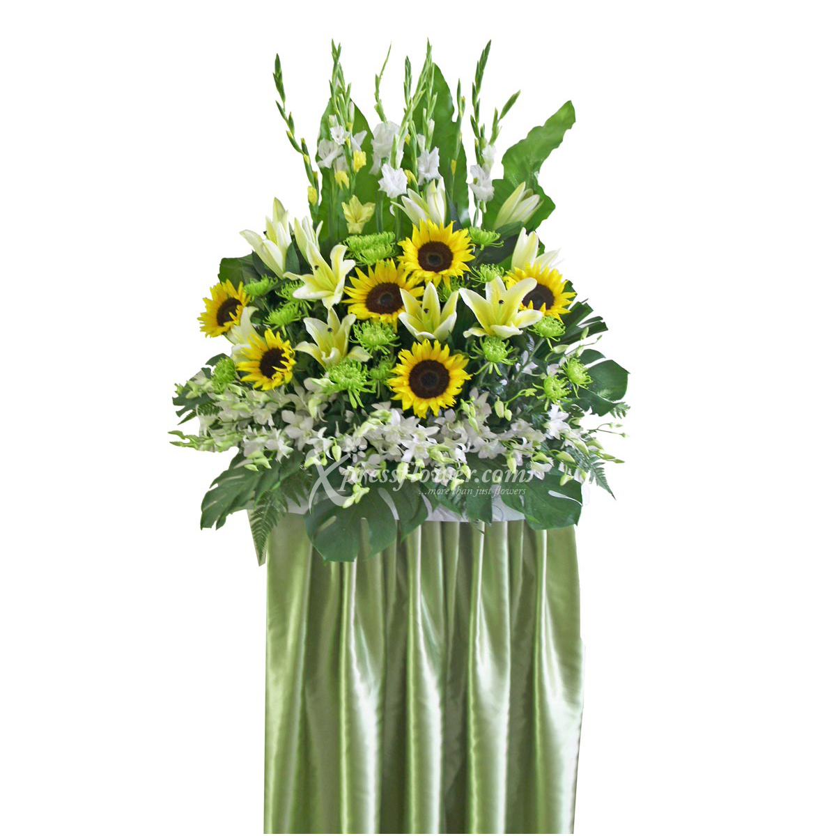 SC1427 Stately Parade sunflower lilies orchid condolence stand