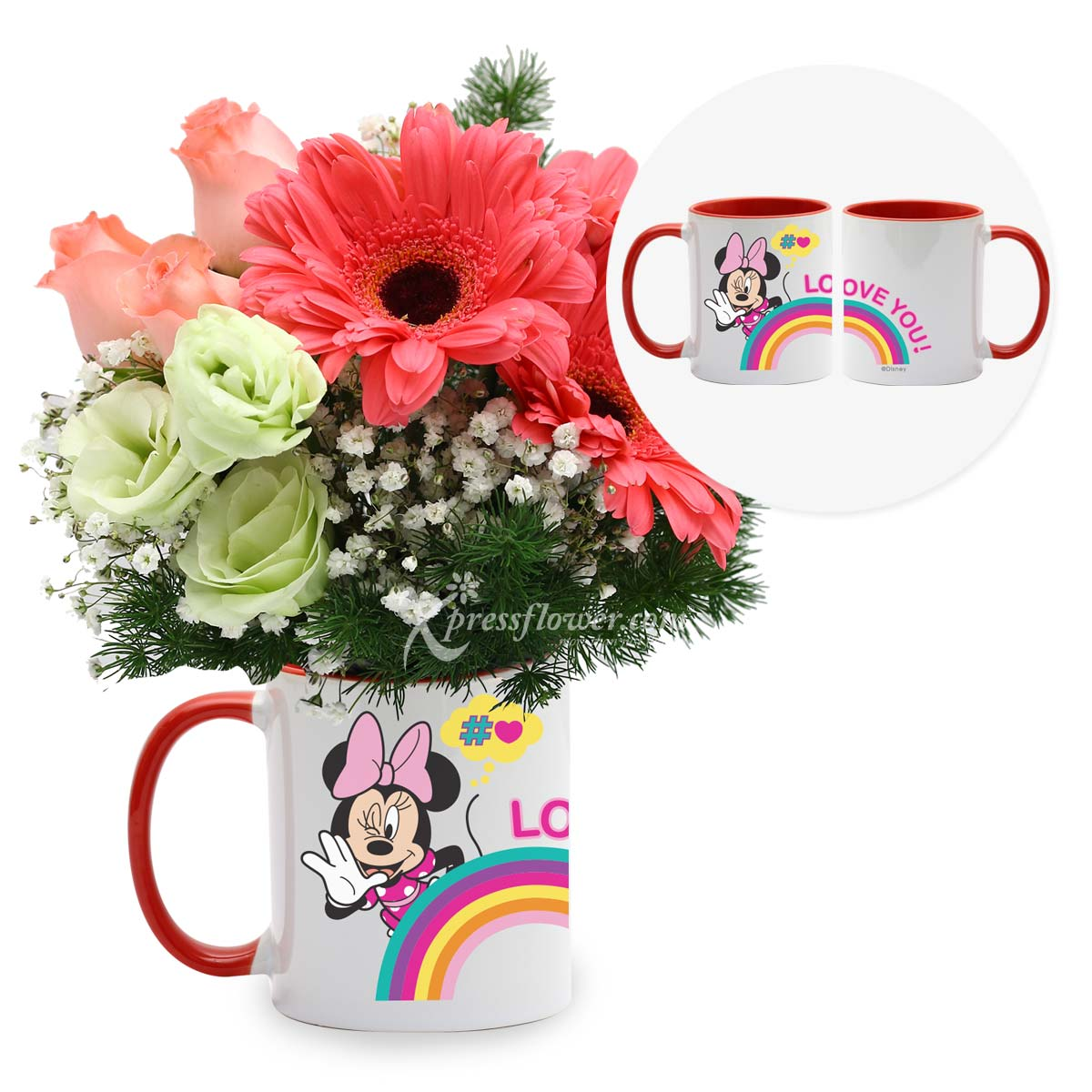 Timeless Moments (3 pink gerberas & 3 pink roses with Disney cup)