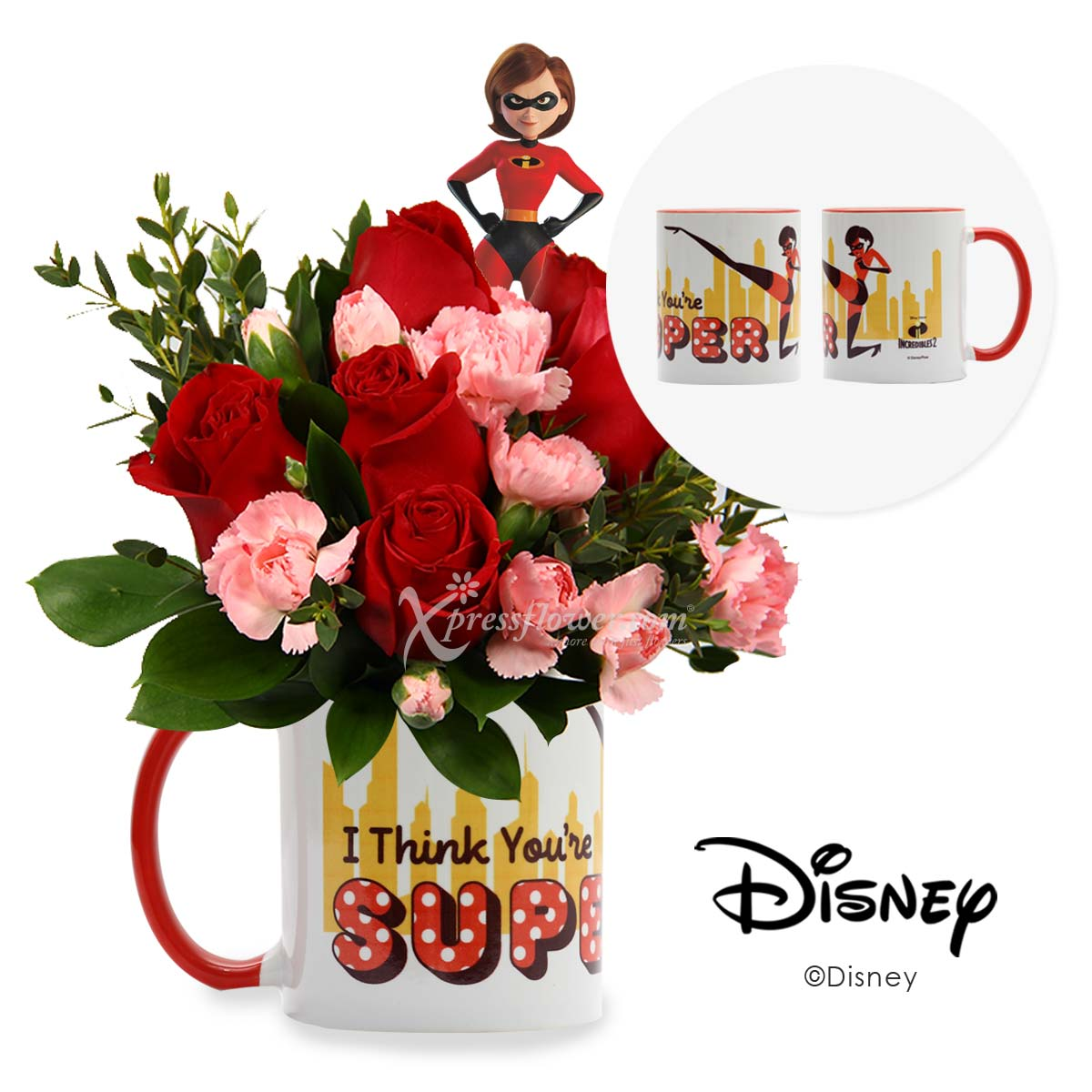 You are Super Mom (6 red roses with carnation spray in Disney cup)