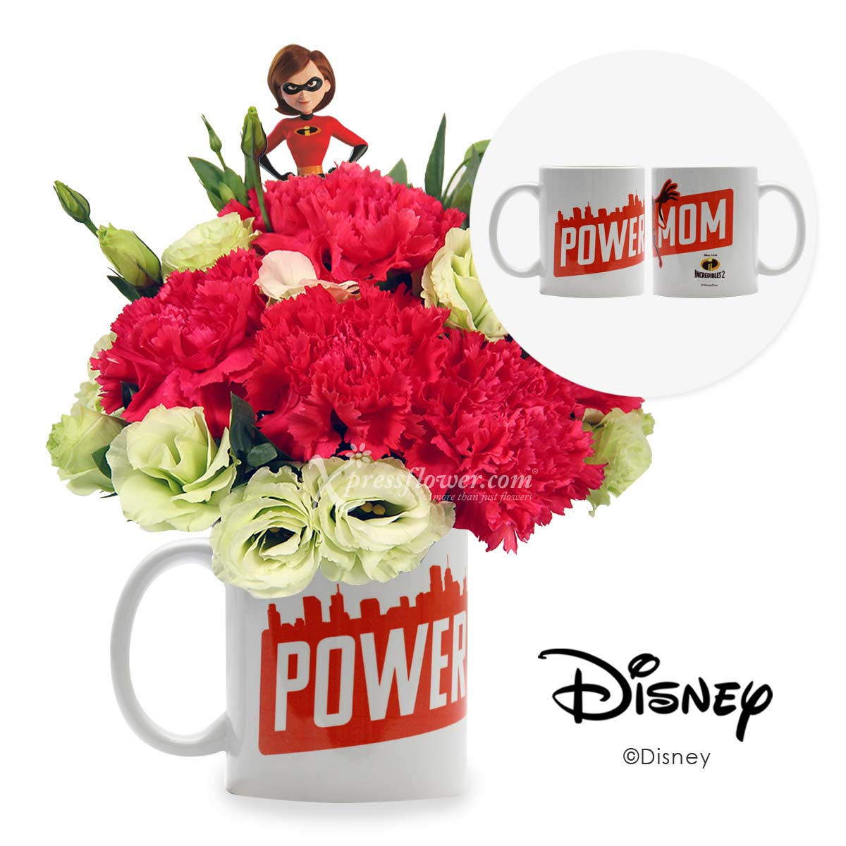 Power Mom (6 shocking pink carnations with Disney cup)