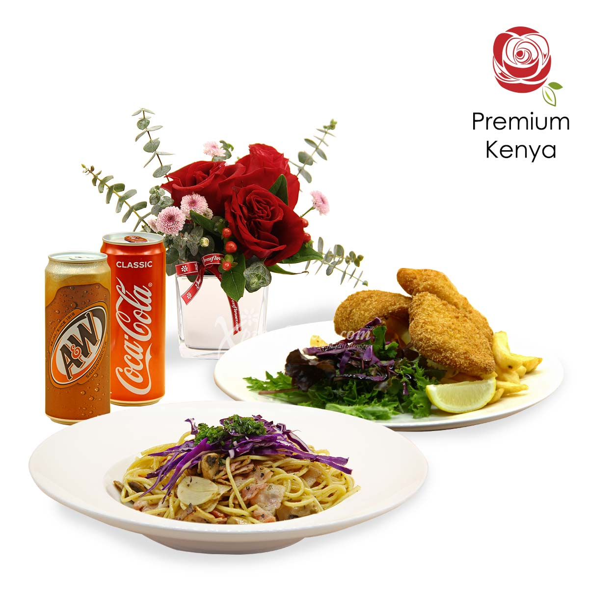 Full of Pasta-bilities (3 red roses with Knots set meal combo)