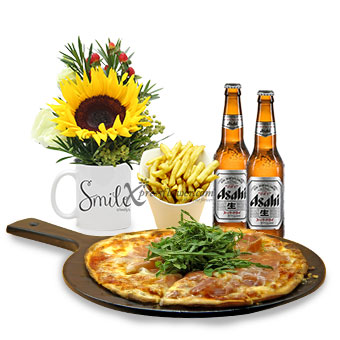 Smile Always (1 sunflower with Knots pizza, fries & Asahi beer combo)