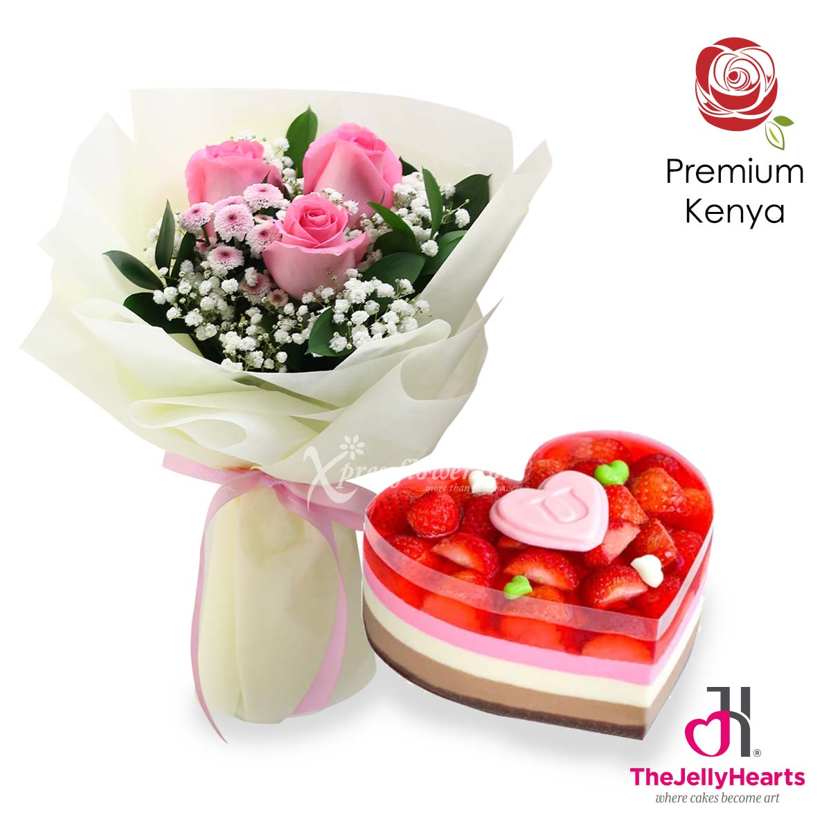 Pink-y Adore You (3 dark pink roses with The Jelly Hearts strawberry cheesecake)