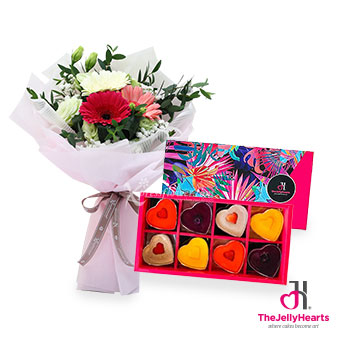 Burst of Affection (3 gerberas with The Jelly Hearts mini heart gift box)