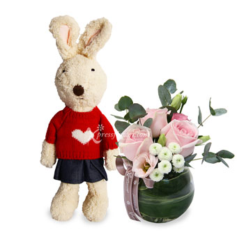 Candy Dreams (3 pink roses with bunny plush)