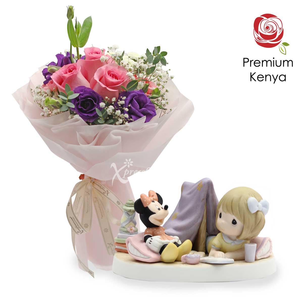 Happy Memories (3 dark pink roses with Disney Precious Moments figurine)