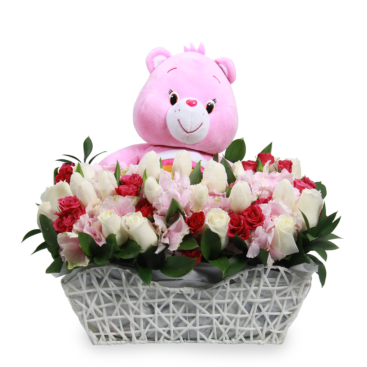 NB1722 joyful newborn baby gifts soft toy pink hydrangea tulips roses