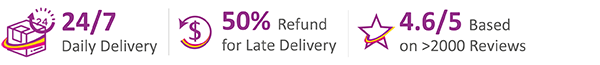 24/7 Delivery Service, 50% Refund for late delivery, 4.6/5 rating from over 2000 reviews