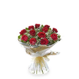 12-STALK RED ROSE BOUQUET (UK)