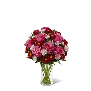 FUCHSIA ROSES IN ARRANGEMENT (US)