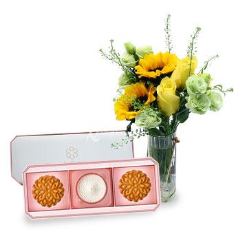 Golden Dreams (Sunflowers & Roses with NestBloom premium bird's nest mooncake set)