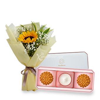 Sun and the Moon (1 Sunflower with NestBloom premium bird's nest mooncake set)