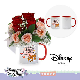 Looking Up to Mum (6 red roses with Disney cup)