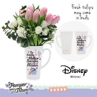 Just for Mum (9 pink tulips with Disney cup)