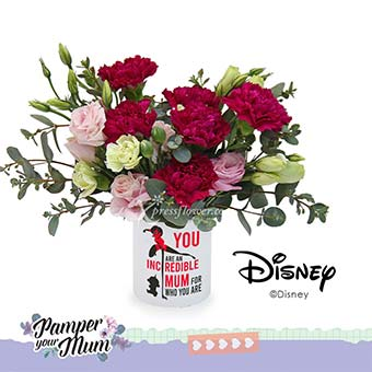 Incredible Mum (6 purple carnations with Disney pen holder)