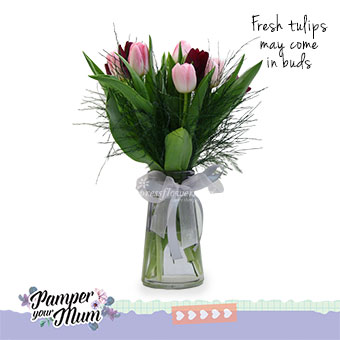 Elegantly Beautiful (5 pink and 5 purple tulips)