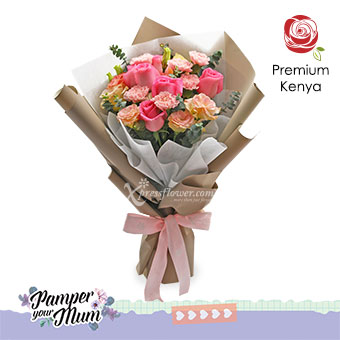 Innocent Charmer (6 dark pink roses & 6 pink carnations)