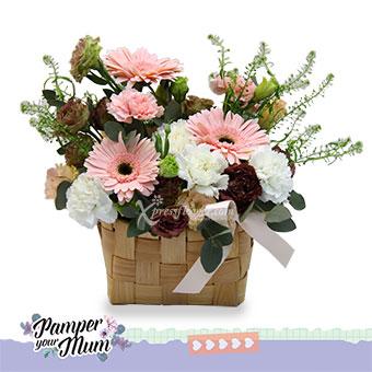 Delightful Smiles (3 pink gerberas & 3 pink carnations)