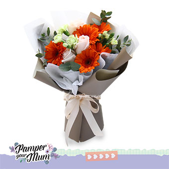 Sunrise Blooms (5 orange gerberas & 3 pink roses)