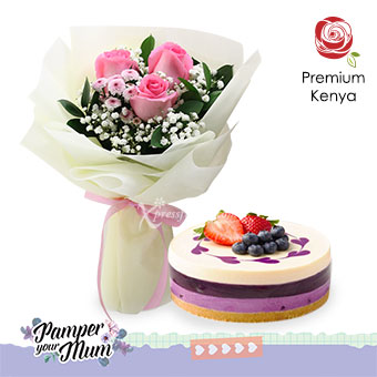 Sweet Mum (3 dark pink roses with JellyHearts blueberry cheesecake)