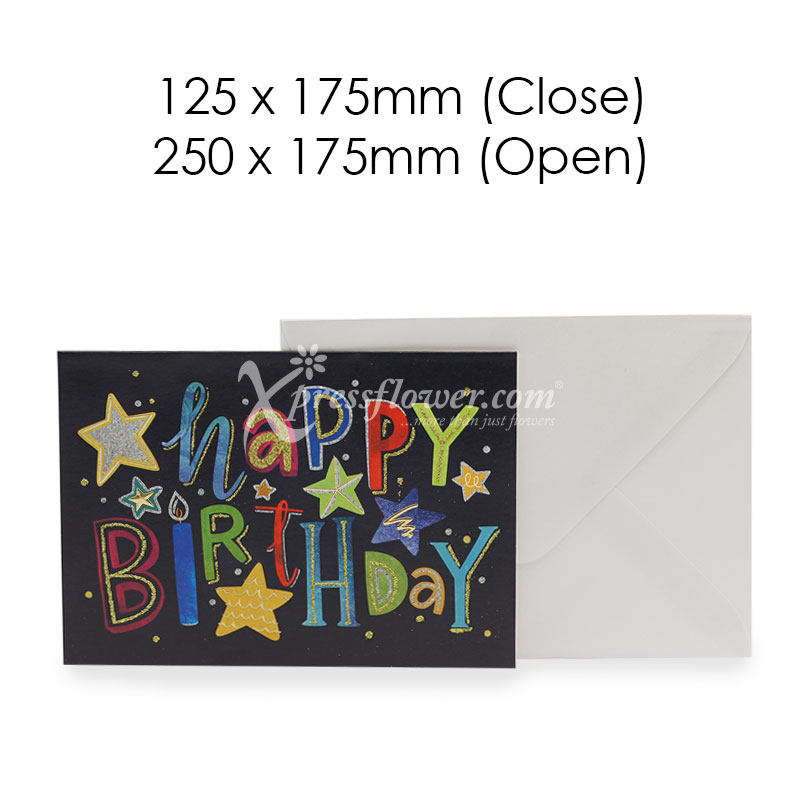 Happy Birthday Black (Blank Card)