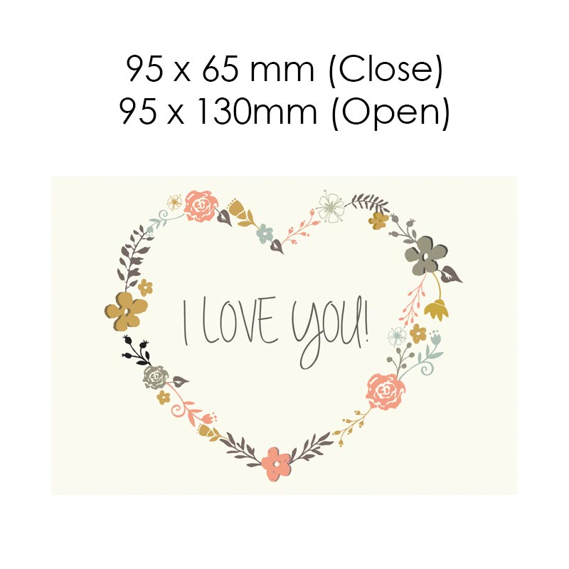 I Love You - Flower Heart (Blank Card)