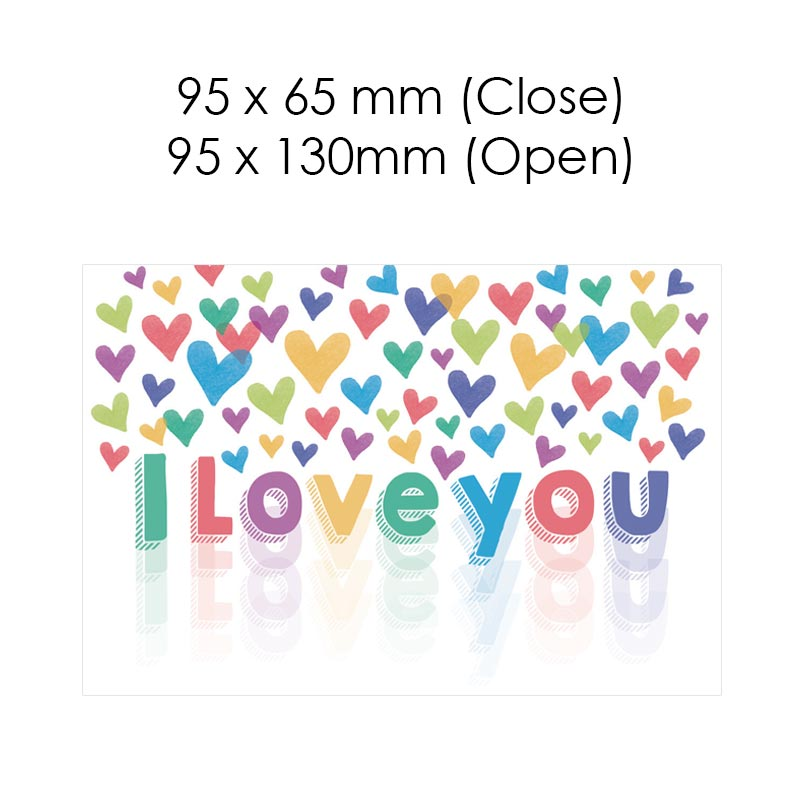 I Love You Colourful Hearts (Blank Card)