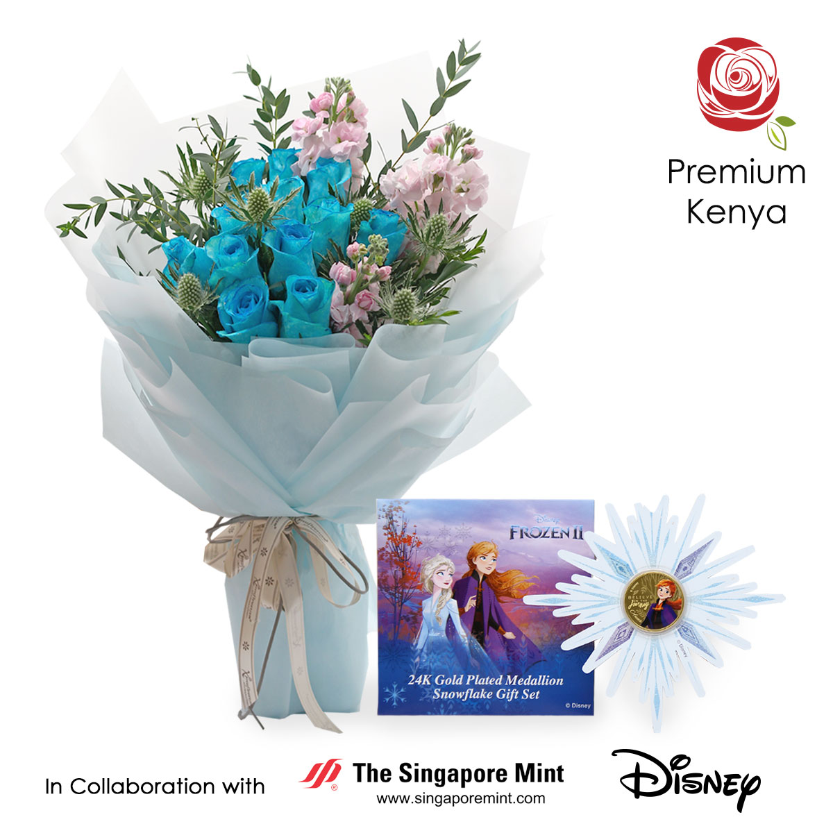Snow Fall (12 blue roses with Disney Frozen medallion)
