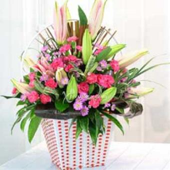 PINK & PURPLE FLOWERS IN CONTAINER (VN)