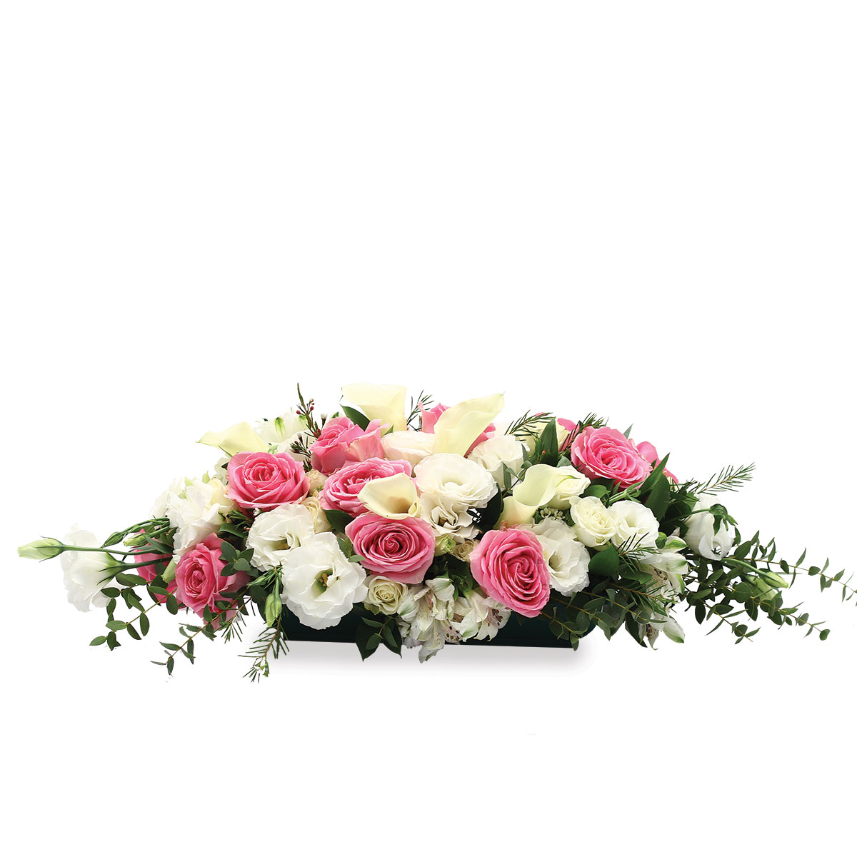 WD1705 Everlasting Devotion White Calla lilies and Dark Pink Kenya Roses