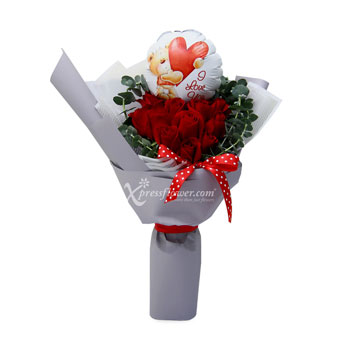 Blown Away (12 red roses with